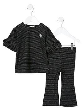 river-island-mini-mini-girls-stripe-flare-co-ord-set-black