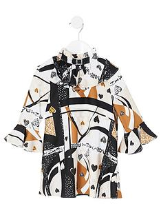 river-island-mini-mini-girls-print-bow-neck-dress-beige