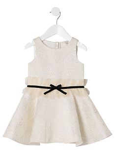 river-island-mini-mini-girls-jacquard-bow-waist-dress-gold