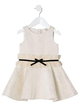 river-island-mini-mini-girls-jacquard-bow-waist-dress-gold