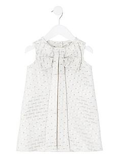 river-island-mini-mini-girls-bow-embossed-dress-cream