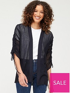 v-by-very-mesh-ruched-sleeve-cardigan-navy
