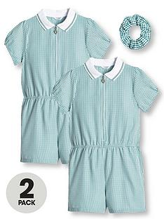 v-by-very-girls-2-pack-gingham-school-playsuit-green