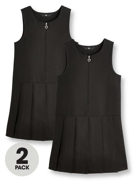 v-by-very-girls-2-pack-pleat-pinafore-water-repellentnbspschool-dressesnbsp--black
