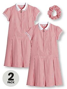 v-by-very-girls-2-pack-rib-collar-gingham-school-dress-red
