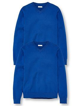 v-by-very-unisex-2-pack-v-neck-school-jumper-royal-blue