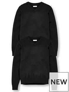 v-by-very-unisex-2-pack-v-neck-school-jumper-black