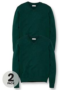 v-by-very-unisex-2-pack-v-neck-school-jumper-green
