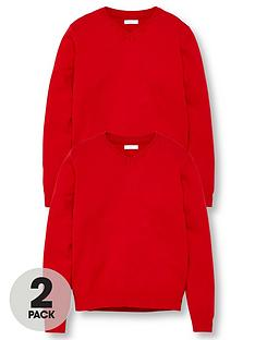 v-by-very-unisex-2-pack-v-neck-school-jumper-red