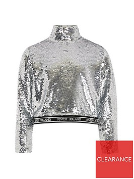 river-island-ls-hi-neck-silver-sequin-crop
