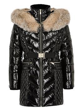 river-island-girls-highshine-padded-longline-jacket--black