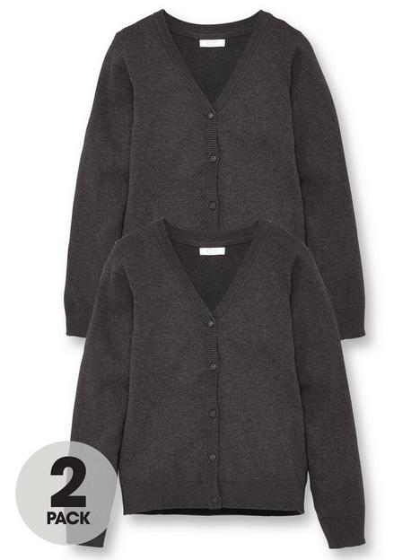 v-by-very-girls-2-pack-school-cardigans-charcoal