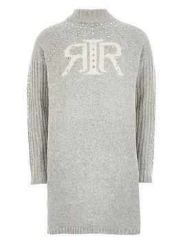 river-island-girls-ri-embelished-jumper-dress--grey