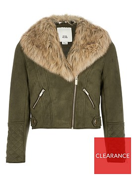 river-island-girls-faux-fur-collar-biker-jacket-khaki