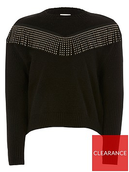 river-island-girls-diamante-tassel-knitted-jumper-black