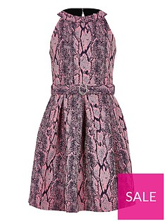 river-island-girls-snake-print-belted-prom-dress-pink