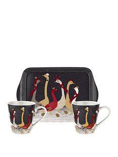 sara-miller-nbspfestive-geese-mug-and-tray-set