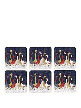 sara-miller-festive-geese-coasters-ndash-set-of-6