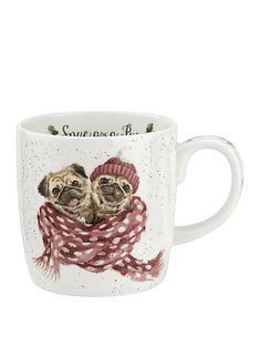 royal-worcester-wrendale-snug-as-a-pug-christmasnbspmug