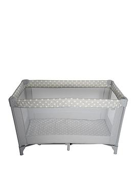 my-babiie-grey-stars-travel-cot