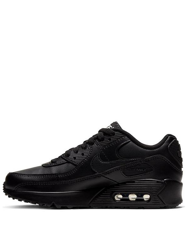 Nike Air Max 90 Leather Junior Trainer - Black | very.co.uk