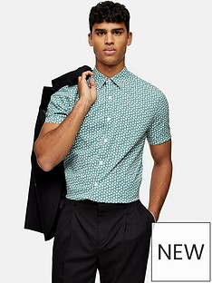 topman-motif-print-short-sleeve-shirt-green