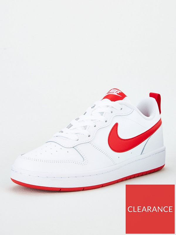 Integral galón Hacer  Nike Court Borough Low 2 Junior Trainers - White/Red | very.co.uk