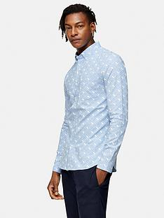 topman-panther-print-long-sleeve-shirt-blue