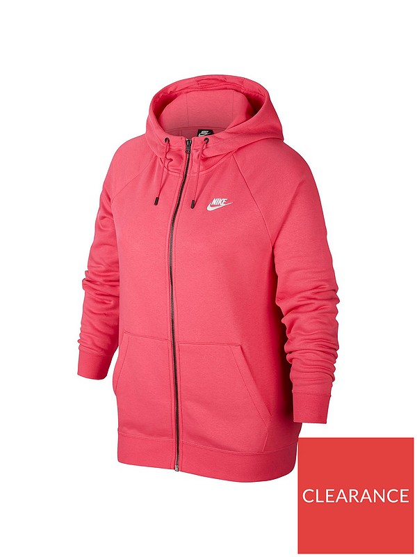 ladies nike red essential fleece zip through hoody