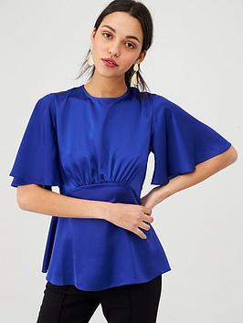 v-by-very-angel-sleeve-peplum-satin-blouse-cobalt
