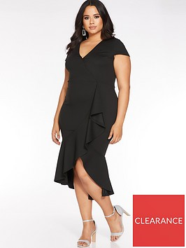 quiz-curve-cap-sleeve-frill-midi-dress-black