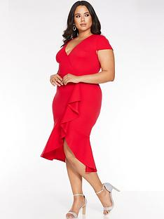 quiz-curve-quiz-curve-red-cap-sleeve-frill-midi-dress