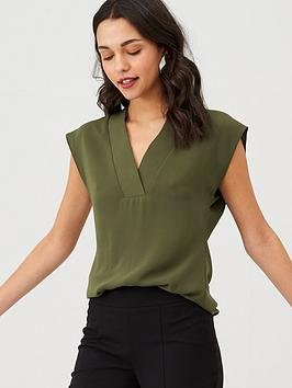 v-by-very-v-neck-formal-shell-top-khaki