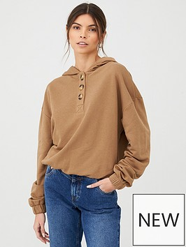 v-by-very-mock-horn-button-cropped-hoody-camel