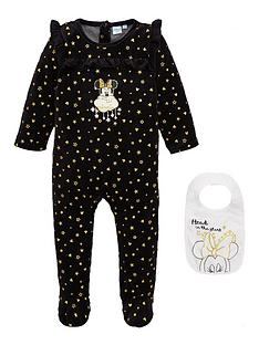 minnie-mouse-stars-baby-sleepsuit-and-bib-set-black