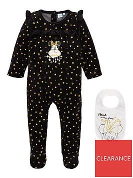 minnie-mouse-stars-baby-sleepsuit-and-bib-set-black