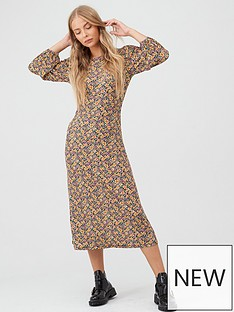 v-by-very-volume-sleeve-midi-dress