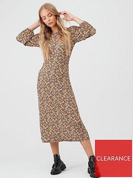 v-by-very-volume-sleeve-midi-dress