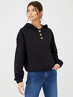 v-by-very-mock-horn-button-cropped-hoodie-black