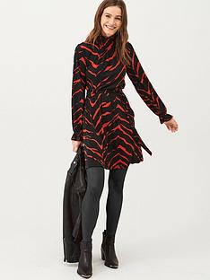 v-by-very-high-neck-belted-jersey-mini-dress-print