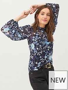 v-by-very-mesh-floral-high-neck-top-blue