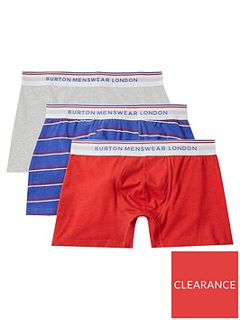 burton-menswear-london-3-packnbspmulticolour-sports-trunks-red