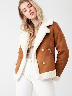 river-island-river-island-faux-fur-crested-button-aviator-jacket-tan
