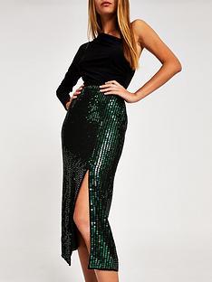 river-island-river-island-sequin-embellished-midi-skirt--green