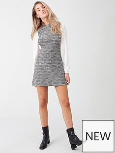 river-island-river-island-checked-2-in-1-pinny-dress--ivory