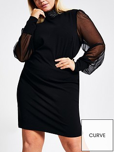 ri-plus-mesh-sleeve-jersey-dress--black