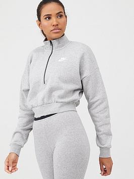 nike-nsw-essential-half-zip-crop-sweat-top-dark-grey-heathernbsp