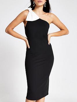river-island-river-island-one-shoulder-bow-bodycon-midi-dress-black