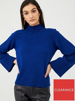 v-by-very-fluted-sleeve-cable-neck-jumper-blue