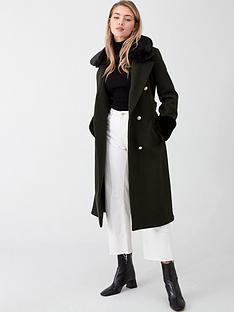 river-island-river-island-faux-fur-collar-tie-waist-coat-khaki